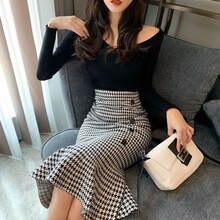 Женская юбка годе в стиле «гусиные лапки» длинная до середины