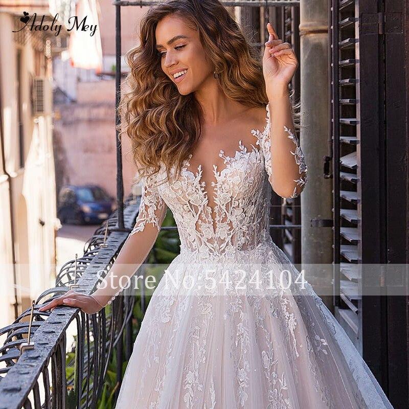 Image 3 - Adoly Mey New Charming Scoop Neck Button A Line Wedding Dresses 2020 Luxury Appliques Long Sleeve Vintage Bridal Gown Plus SizeWedding Dresses   -
