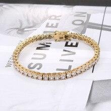Простой и модный мужской браслет из циркония из титановой стали с однорядным золотым браслетом из нержавеющей стали