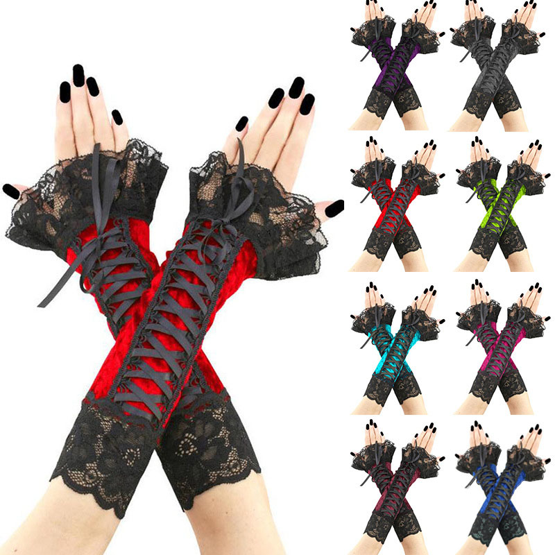 Wedding Bride Gloves Lace Bridal Dress Luxury Long Fingerless Accessories Party Black Red Purple Green