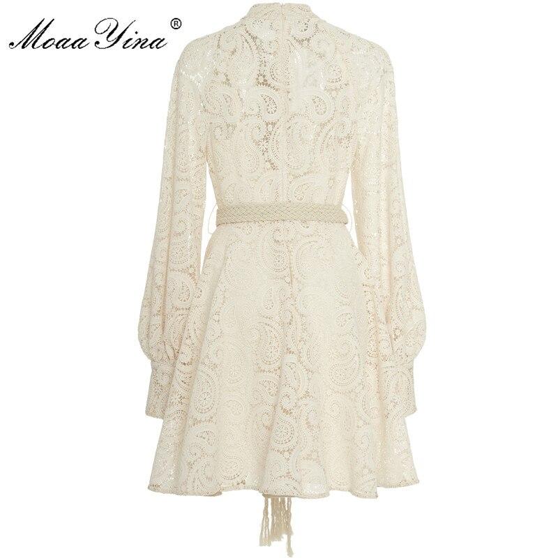 Image 2 - MoaaYina Fashion Designer Runway dress Autumn Winter Women Dress  Puff Sleeve Lace Hollow Out Lace Up DressesDresses