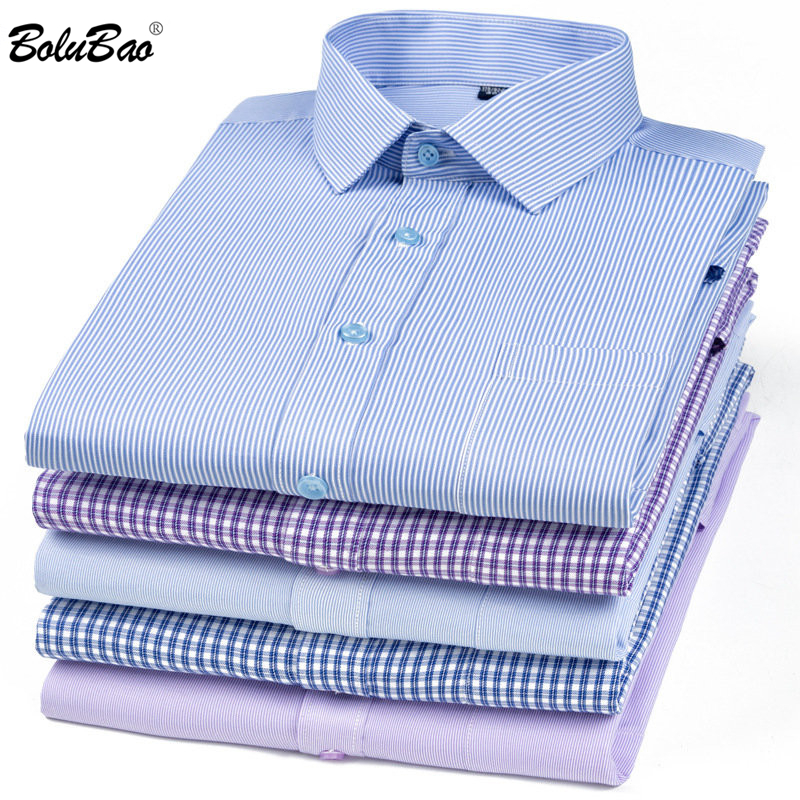 BOLUBAO Men's Casual Plaid Shirt Twill Party Shirts Multiple Styles Male Street British Style Shirts