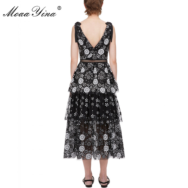 Image 3 - MoaaYina V neck Women dress Fashion Sexy Backless flower Female Sequins Tiered Midi dressDresses