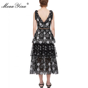Image 3 - MoaaYina V neck Women dress Fashion Sexy Backless flower Female Sequins Tiered Midi dress