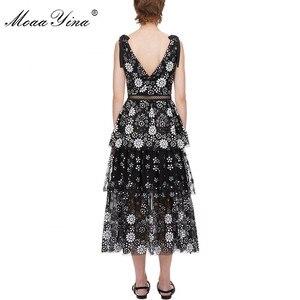 Image 3 - MoaaYina col en V femmes robe mode Sexy dos nu fleur femme paillettes à plusieurs niveaux robe Midi