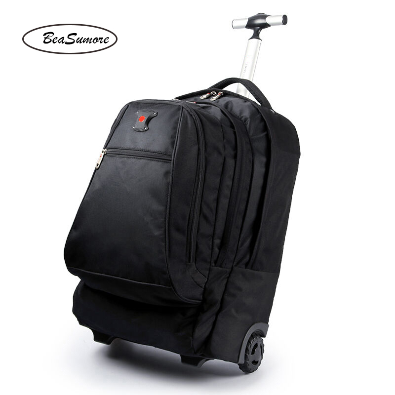BeaSumore Large Capacity Shoulders Travel Bag 20 Inch Student Backpack Men Business Laptop Bag Multifunction Suitcases Wheel