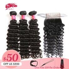 Али искусственные волосы Queen hair глубокая волна Комплект с закрытием бразильские необработанные неповрежденные неокрашенные натуральные человеческие волосы 4x4 кружева средняя часть двойные вытянутые