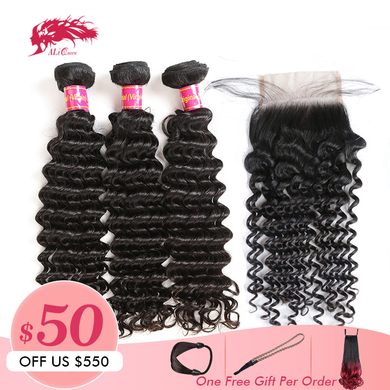 Ali Queen Hair Product Deep Wave Bundle With Closure Brazilian Unprocessed Virgin Human 4x4 Lace Middle Free Part Double Drawn