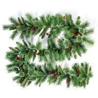 Christmas Rattan Garland Tree Pine Cone Hanging Fireplace Cane Home Garden Decor