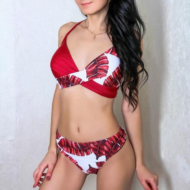 Riseado Sexy Push Up Bikinis Leaf Print Swimwear Women Summer Bathing Suit Women Halter biquini Beach Wear Bikini 2020 4