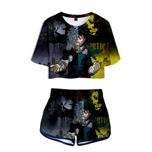 WAMNI My Hero Academia 3D Harajuku 2 Piece Set Women Shorts Suit tshirt suit Summer Boku no Hero Academia Shirt And Shorts(China)
