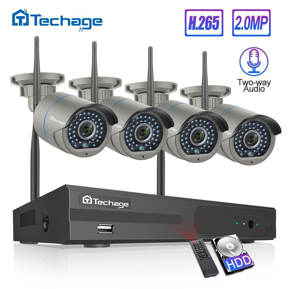 2MP H.265 8CH 1080P NVR Sem Fio Sistema De CFTV de Segurança Two-way Áudio WiFi IR Ao Ar Livre Câmera IP P2P kit de Vigilância de vídeo 1TB HDD