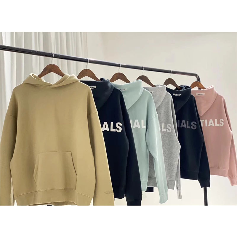 Heavy Fabric Embroidery  Essentials Hoodie Men Women 1 Oversize Pullover Pink Blue Reflective Essentials Hoody S M L XL
