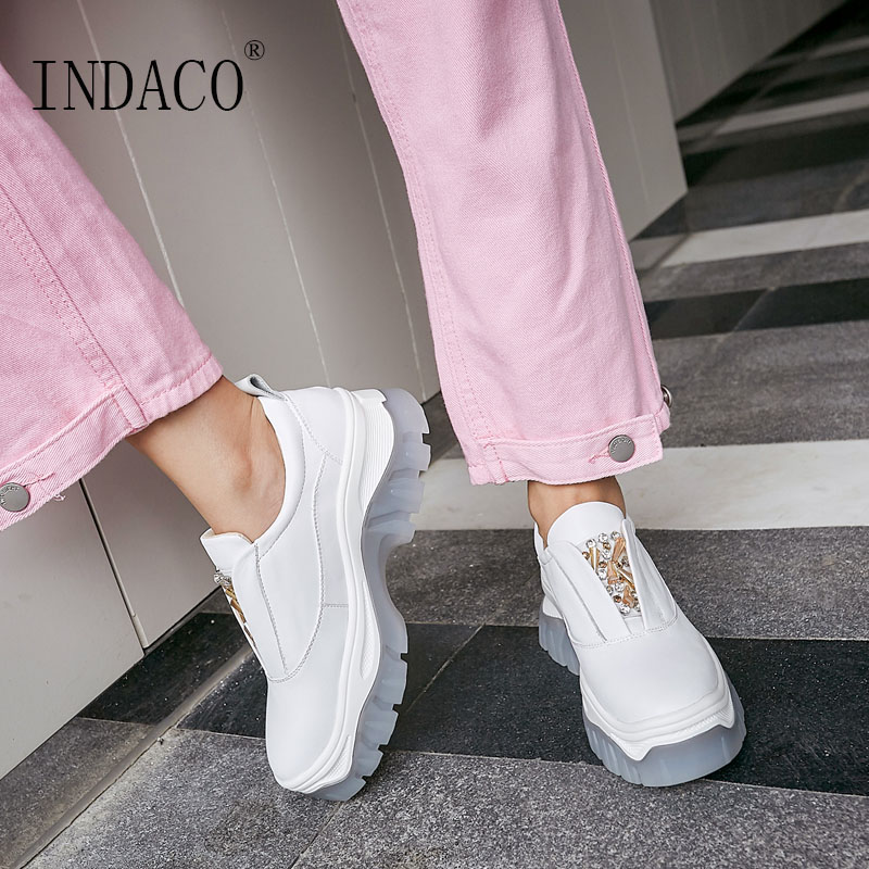 White Sneakers Women Pink Rhinestone Leather Platform Sneakers Casual Shoes 6cm