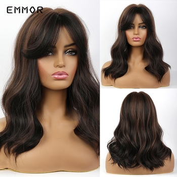 EMMOR Natural wave Synthetic Hair Wigs for Women High Temperature Cosplay Costume Party Daily Use Ombre Dark Brown Wig emmor natural wave synthetic hair wigs for women high temperature cosplay costume party daily use ombre dark brown wig