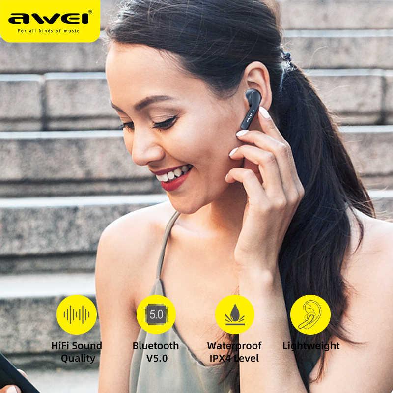 Oryginalny AWEI T10C TWS bezprzewodowe słuchawki Bluetooth słuchawki sterowana dotykiem zestaw głośnomówiący prawdziwe bezprzewodowe wkładki douszne dla xiaomi