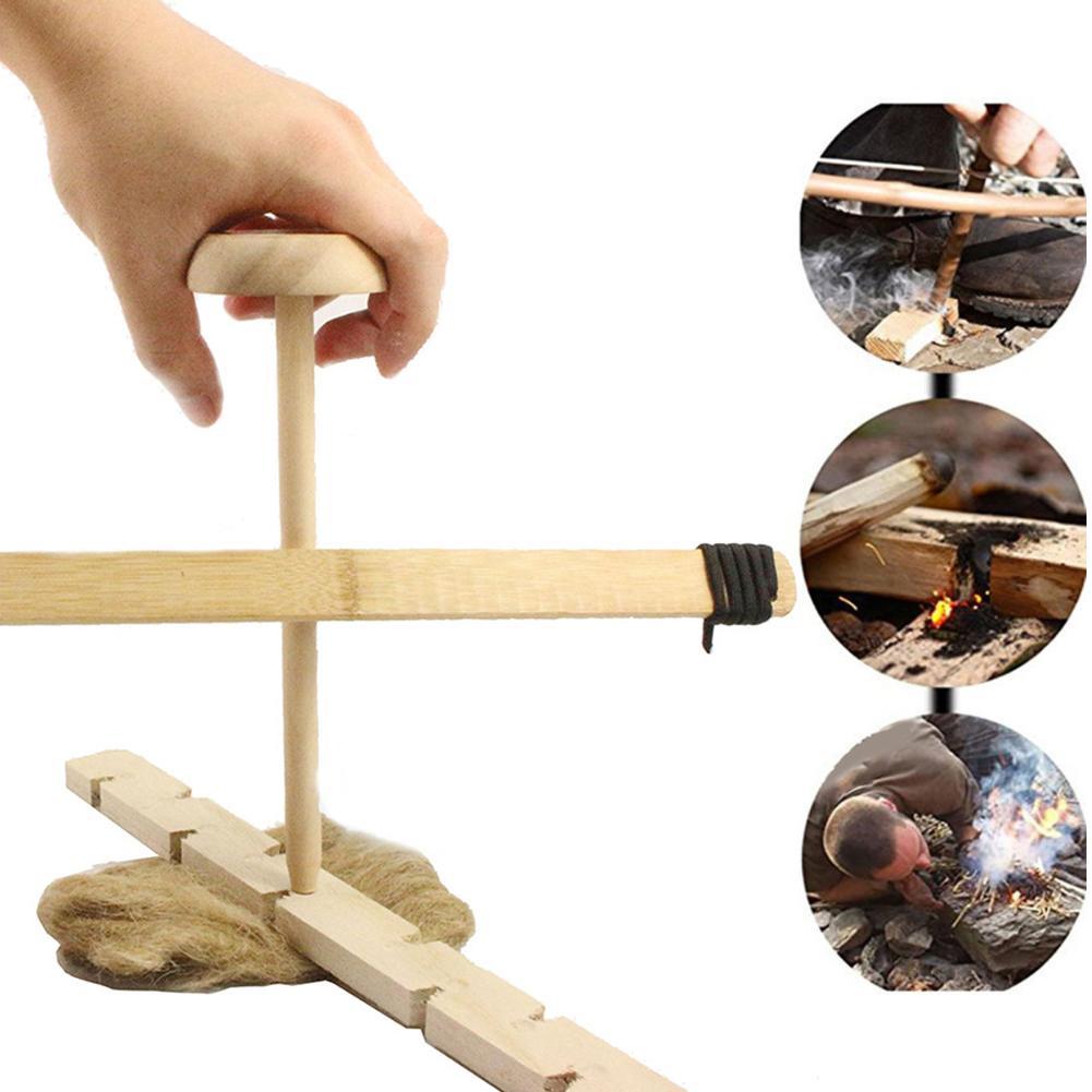 Портативный набор сверл с огненным бантом, бурильная установка для стрельбы из примитивной древесины, инструмент для выживания на открытом воздухе, фрикционный инструмент