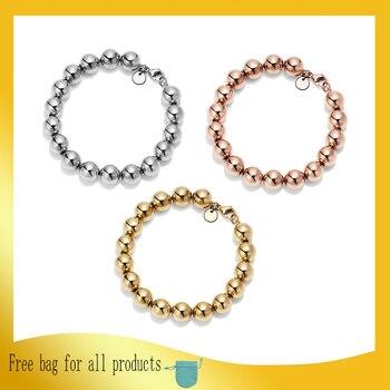 1: 1 Original Model S925 Sterling Silver Bracelets Fashion 3 Color 10mm Bead Bracelets Ladies LOGO Jewelry Birthday Gift