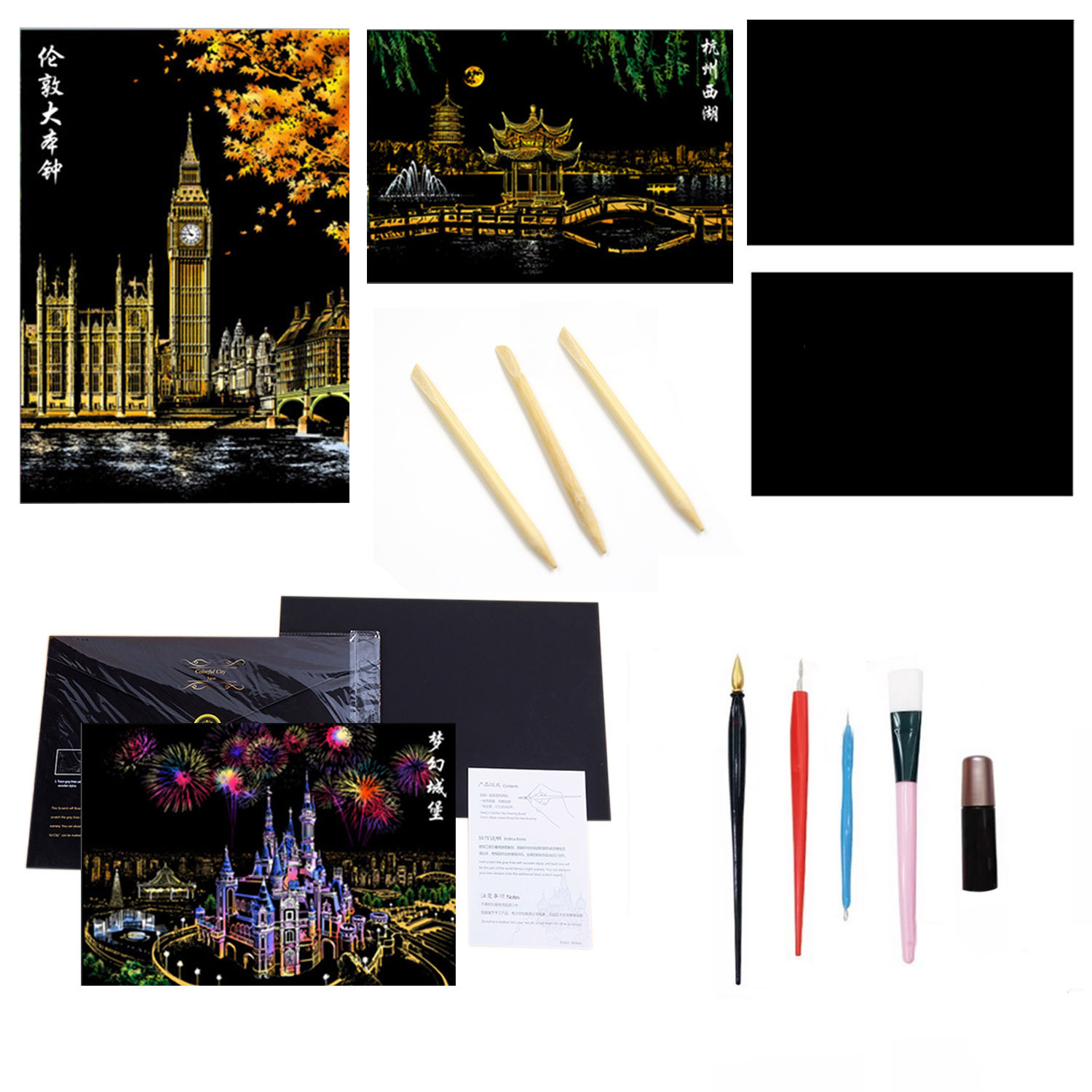 3pcs City Night View Scraping Painting With Small Scraper Repair Liquid Scratch Pen Black Brush 4 Bamboo Pens For Painting Tool