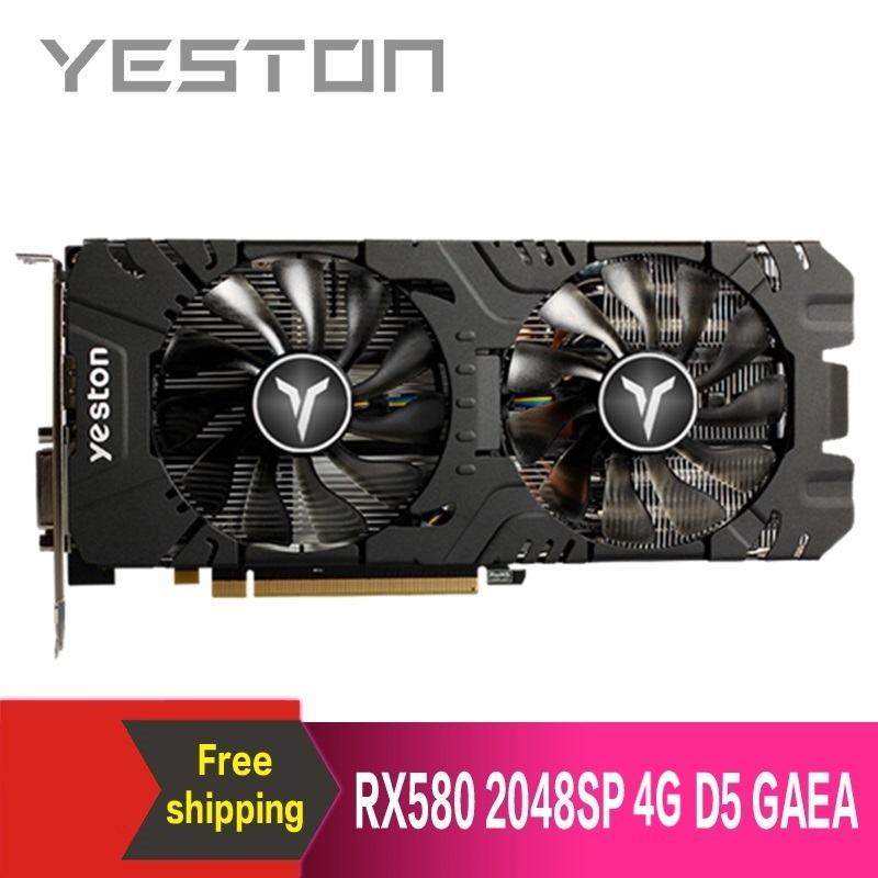 Yeston Graphics-Card Desktop Video-Gaming Pci Express RX580 GDDR5 for 2048SP-4G X16-3.0 title=