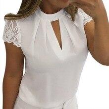 OEAK 2019 Women Sexy Blouses Summer Casual Hollow Chiffon Short Sleeve Splice Lace Top Shirts Blusas Mujer Plus Size 3XL