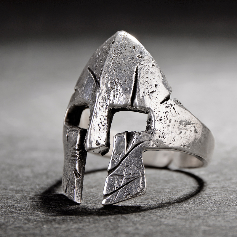Personality Retro Spartan Hero Helmet Mask Rings for Men Fashion Individuality Ornaments Cool Biker Punk Rock Rap Rings For Male(China)