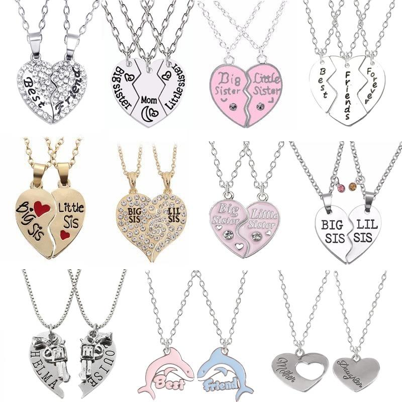 Модное простое ожерелье с подвеской в форме сердца, сестры, комплект из 2 предметов, сплав с надписью BFF, аксессуары дружбы, подарок, горячая Р...