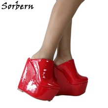 Platform-Shoes Women Mules Wedge Pointed-Toe High-Heel Sorbern Patent Custom Slip-On