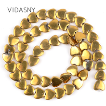 Natural Gold Love Heart Hematite Stone Round Beads For Jewelry Making Diy Bracelet Necklace 6*5mm 8*6mm Loose Spacer 15