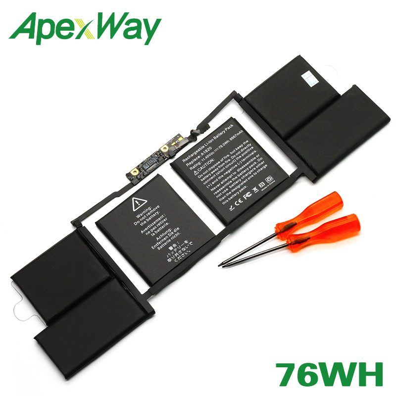 ApexWay 11.4V 76Wh A1820 Laptop Battery For Apple MacBook 15