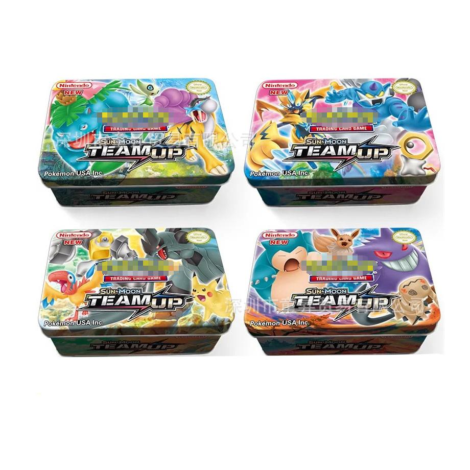 42PCS/BOX SUN&MOON TEAM UP GX MEGA Pokemon Shining Card Game Battle Carte Trading Cards Game Children Pokemons Toys for children image