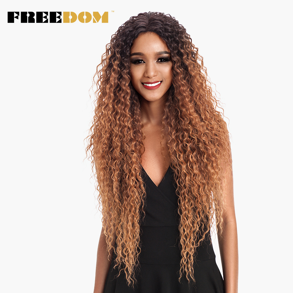 FREEDOM Hair Lace Front Ombre Blonde Wig 30 Inch Long Wavy African American Synthetic Wigs  Colors Available Free Shipping