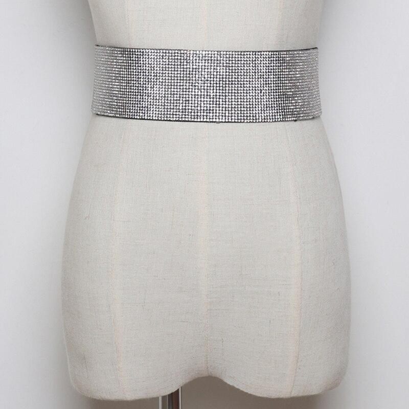 Women Rhinestones Women's Wide Belt Girdle Elastic Waistband For Dress Bride Belts Female Elegant Waist Belt Femme