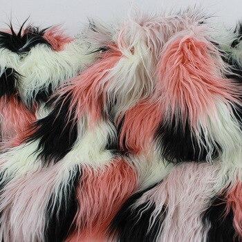 Big beach wool stitching jacquard fluffy fourrure artificial plush faux fur fabric for coat case vest fausse fourrure tissu фото