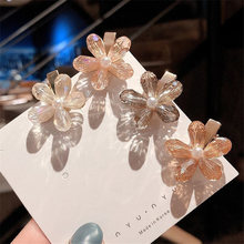 Women Fashion Full CRYSTAL Hair Accessories Korean Sweet Pure White Flower Pins Clip Duckbill Hairgrip Girl Gift Barrette