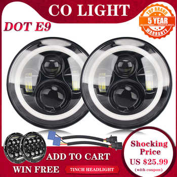 CO LIGHT 7inch LED Headlight 80W DRL Halo Angle Eyes Led Headlamp 12V 24V DOT E9 High Low Turn Signal for Lada Niva Offroad 4x4 - DISCOUNT ITEM  56 OFF Automobiles & Motorcycles