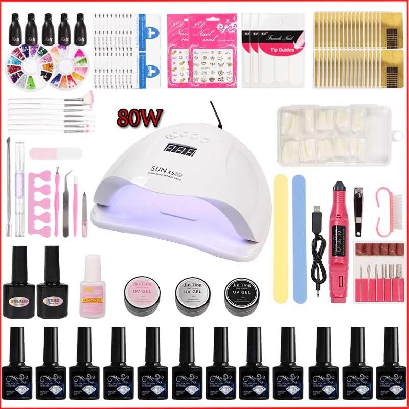 80w/45w Nail LED UV Lamp for Nail Set UV Gel Manicure set Choose 12 Colors Gel Nail Polish Base Top Coat Tool set for Manicure