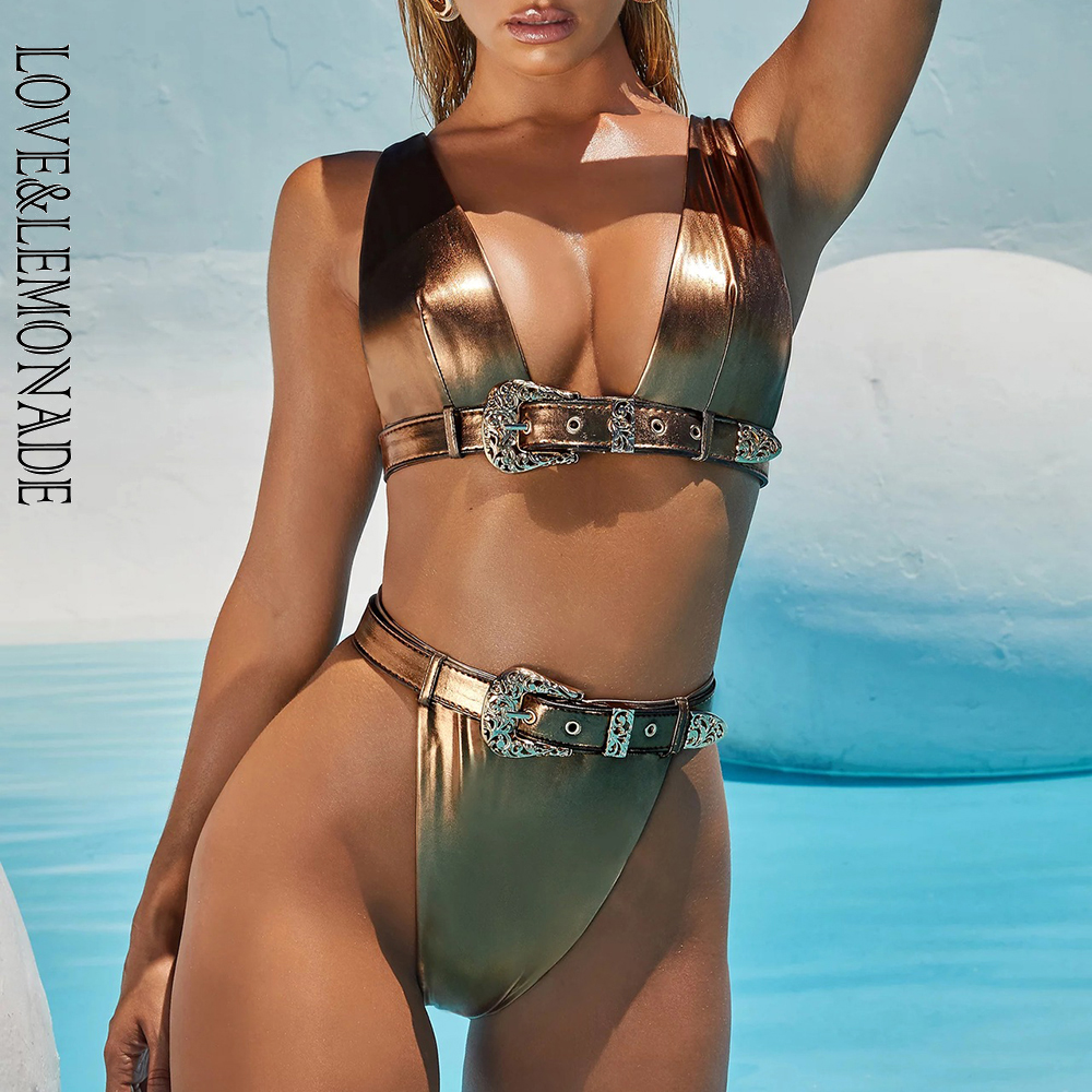 LOVE & LEMONADE Sexy Gold Metal Buttoned Bikini LMSW05