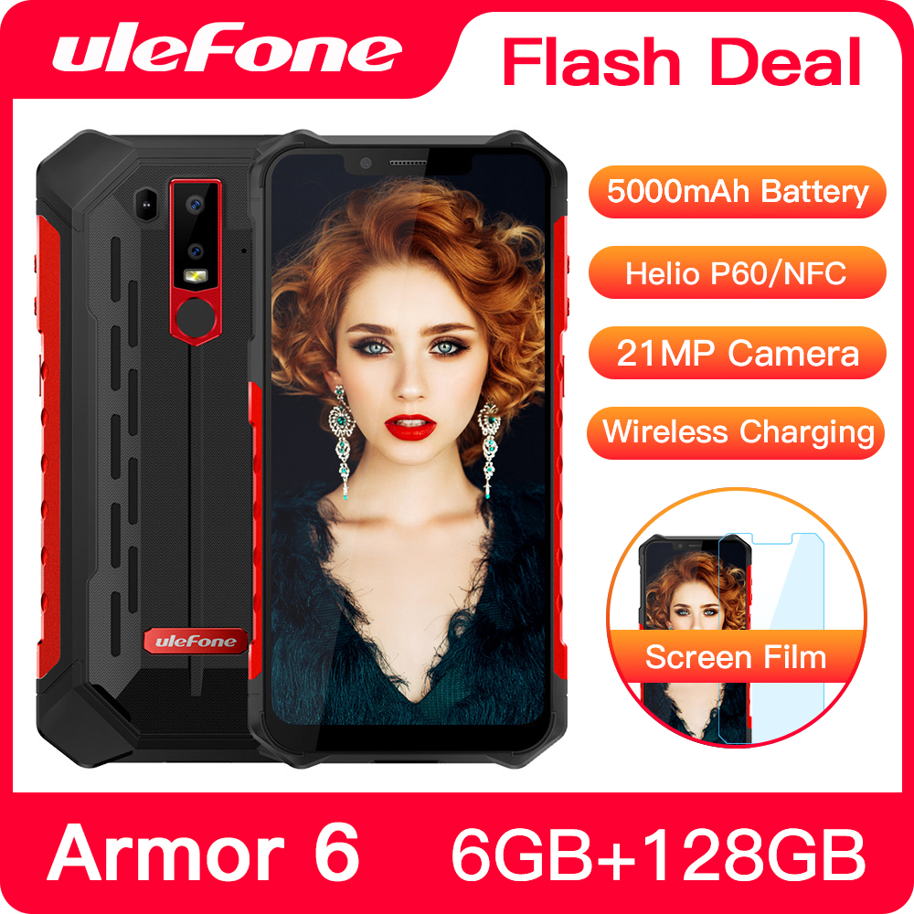 Ulefone Armor 6 Waterproof Mobile Phone Android 8.1 Helio P60 Octa Core 6GB 128GB Face ID NFC IP68 Rugged Smartphone(China)