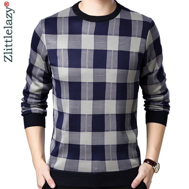 2019 Casual Thick Warm Winter Plaid Knitted Pull Sweater Men Wear Jersey Dress Pullover Knit Mens Sweaters Male Fashions 02110