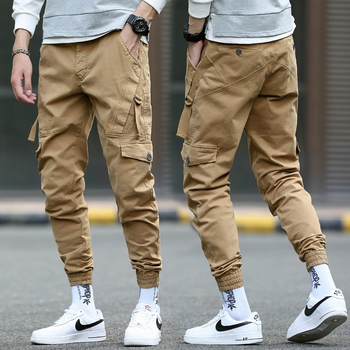 Spodnie Harajuku męskie spodnie Khaki męskie spodnie Skinny Cargo spodnie typu Casual wiosenne i jesienne męskie spodnie Plus rozmiar tanie i dobre opinie TIKALIA AUTUMN Spodnie cargo CN (pochodzenie) COTTON Na zakupy W stylu japońskim Mieszkanie Z KIESZENIAMI REGULAR Pełna długość