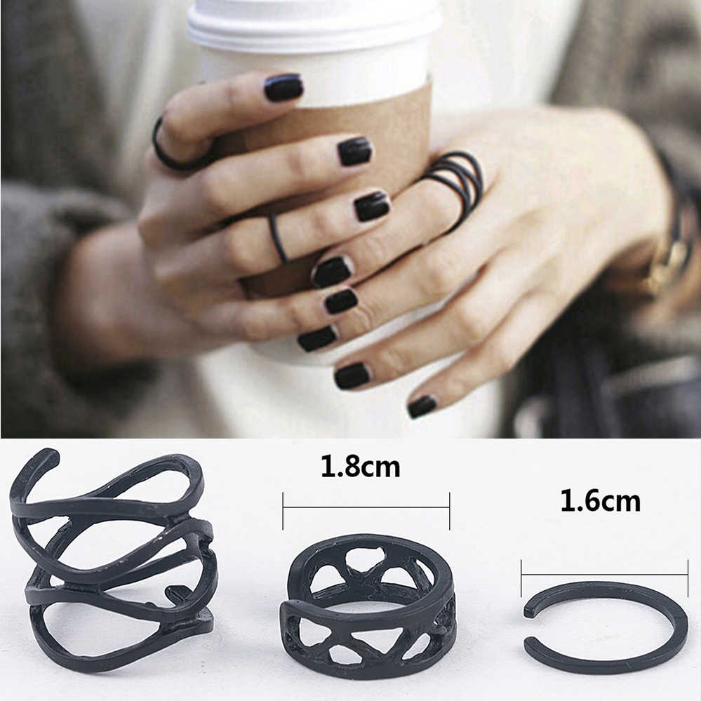 3Pcs Punk A Più Strati Hollow Croce Midi Punta di Dito Anelli Femminile Nero Stack Pianura Sopra Knuckle Ring Set Per Le Donne anel