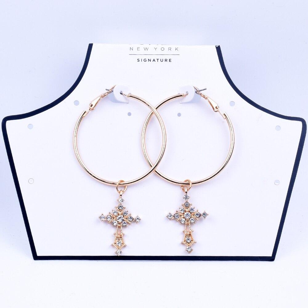 New women's gold cross earrings big round hoop earrings for women Drop earrings accessories jewelry fashion 2019  free shiping