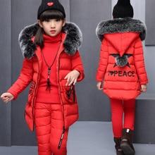 Комплекты одежды для девочек для русской зимы, теплый жилет с капюшоном, куртка+ теплый топ, хлопковые штаны, комплект из 3 предметов, хлопковое пальто с меховым капюшоном для девочек