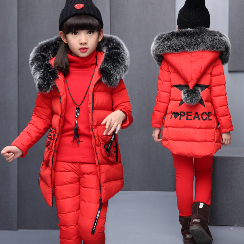 Girls Clothing Sets For Russia Winter Hooded Warm Vest Jacket+Warm Top Cotton Pants 3 Pieces Set Girl Cotton Coat With Fur Hood