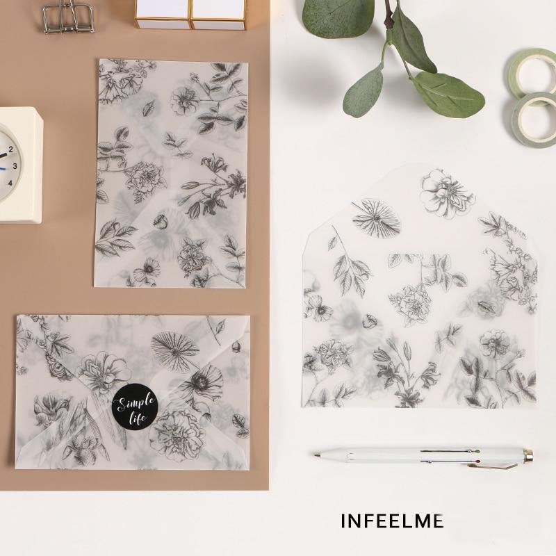 JIANWU Warm Air Flower Series Sulfuric Acid Paper Envelope Translucent Envelope For Planner Organizer Wedding Letter Invitation