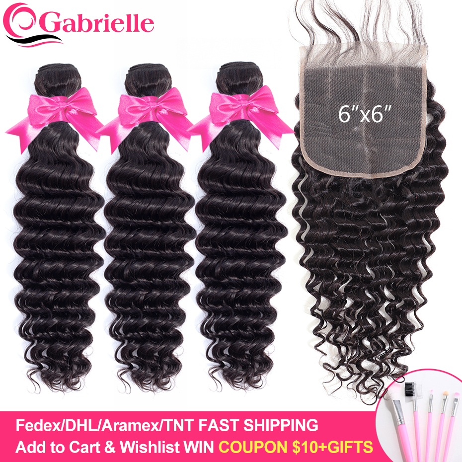 Gabrielle deep wave bundles with closure Brazilian Human Hair 6x6 closure and bundles Remy Hair Extensions-in 3/4 Bundles with Closure from Hair Extensions & Wigs