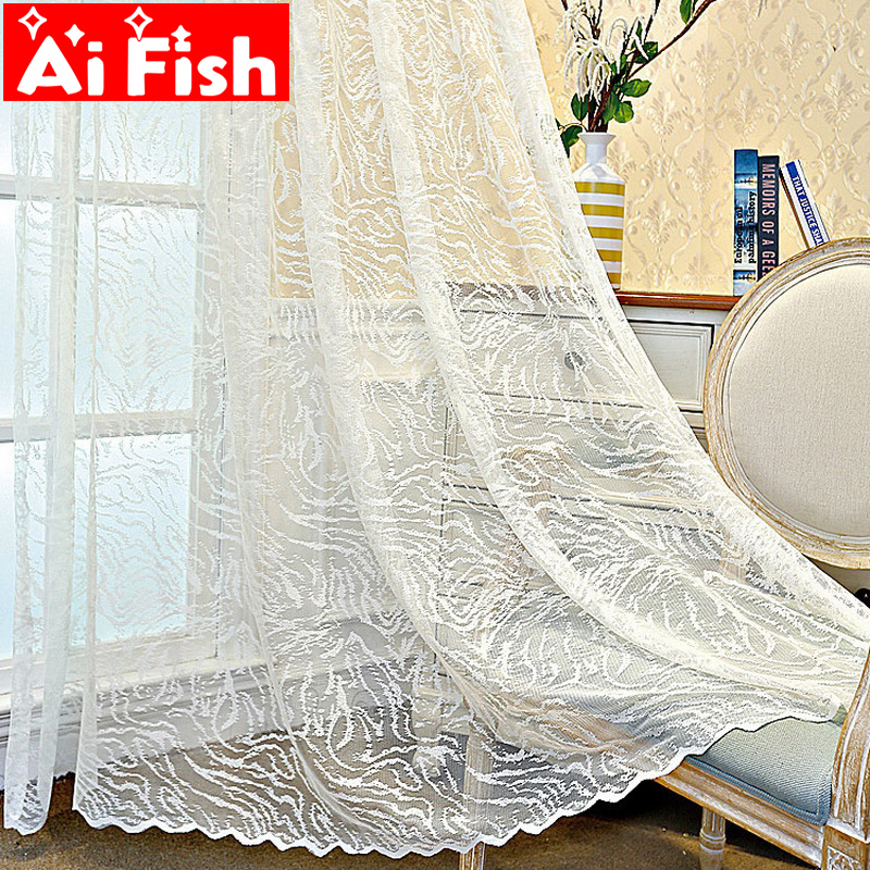 White Lace Gauze Curtains Screen Material Curtain Tulle For Living Room Balcony Kitchen Mosquito Net Sheer Custom M193-50
