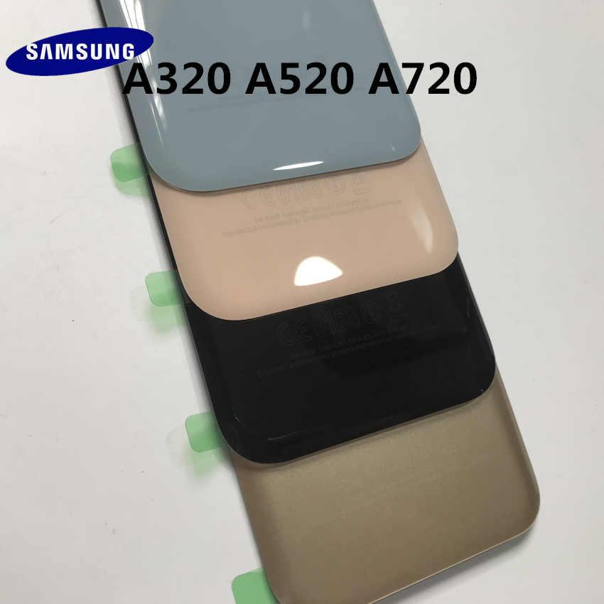 الزجاج الخلفي الأصلي لسامسونج غالاكسي A3/A5/A7 2017 A320 A520 A720 عودة البطارية غطاء زجاجي الباب الخلفي الإسكان استبدال