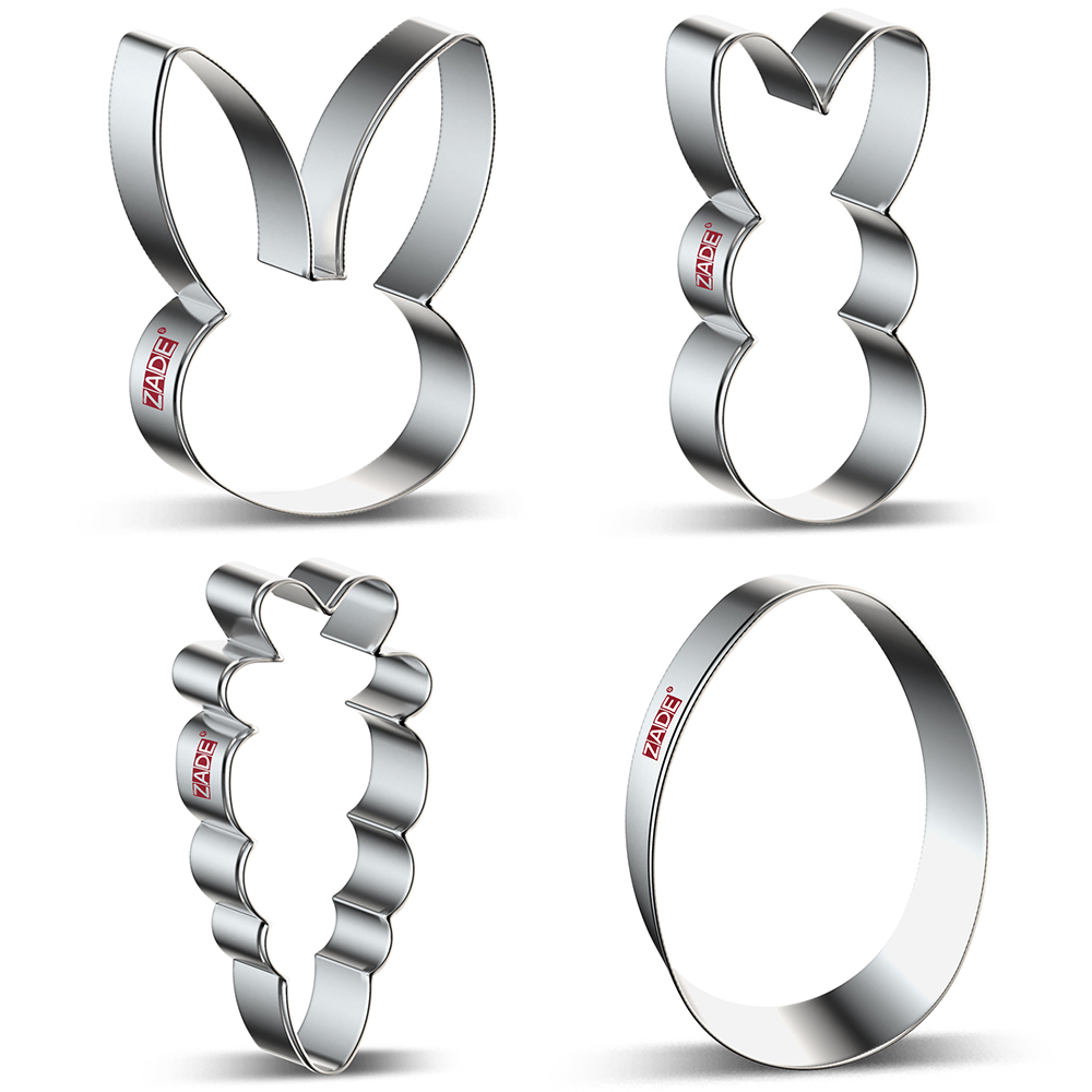 ZADE Easter Rabbit  Egg Cookie Cutter Biscuit And Fondant Cutter - Stainless Steel